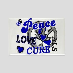 Peace Love Cure ALS 2 Rectangle Magnet
