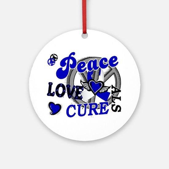 Peace Love Cure ALS 2 Ornament (Round)
