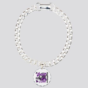 Peace Love Cure 2 Alzheimers Charm Bracelet, One C
