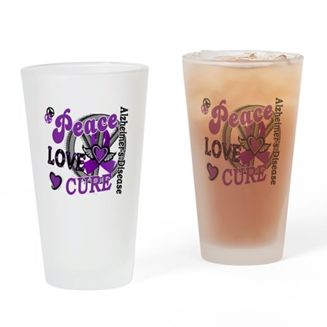 Peace Love Cure 2 Alzheimers Drinking Glass