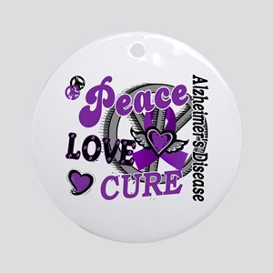 Peace Love Cure 2 Alzheimers Ornament (Round)