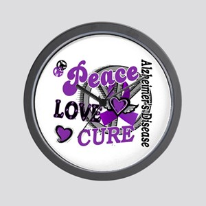 Peace Love Cure 2 Alzheimers Wall Clock