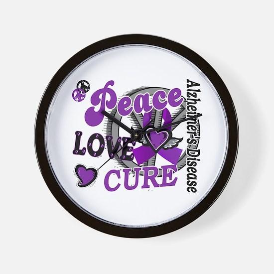 Peace Love Cure 2 Alzheimers Wall Clock