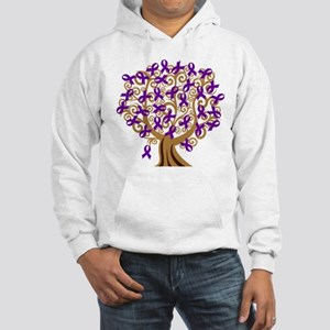 Purple Ribbon Awareness Tree Hooded Sweatshirt