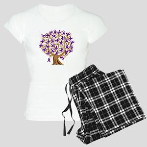 Purple Ribbon Awareness Tree Women's Light Pajamas