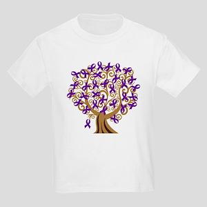 Purple Ribbon Awareness Tree Kids Light T-Shirt