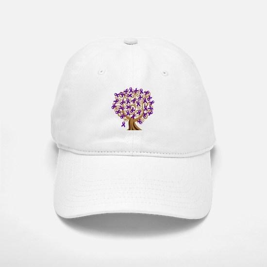 Purple Ribbon Awareness Tree Baseball Baseball Cap