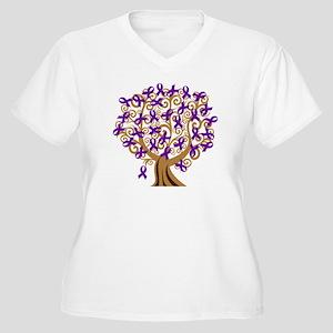 Purple Ribbon Awareness Tree Women's Plus Size V-N