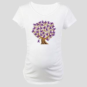 Purple Ribbon Awareness Tree Maternity T-Shirt