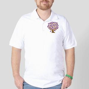 Purple Ribbon Awareness Tree Golf Shirt