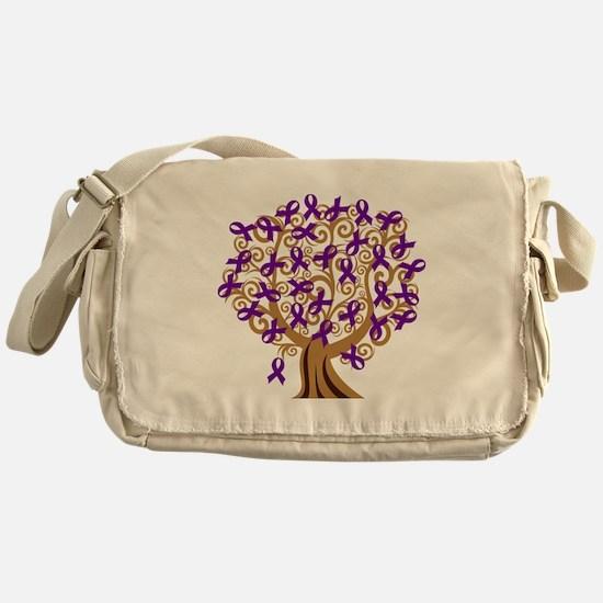 Purple Ribbon Awareness Tree Messenger Bag