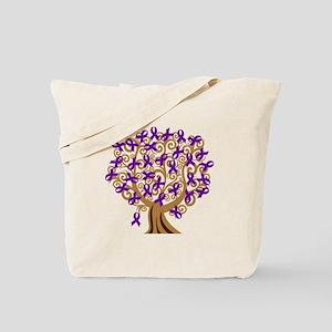 Purple Ribbon Awareness Tree Tote Bag