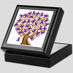Purple Ribbon Awareness Tree Keepsake Box