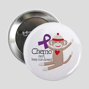 """Purple Ribbon Chemo Sock Monkey 2.25"""" Button"""