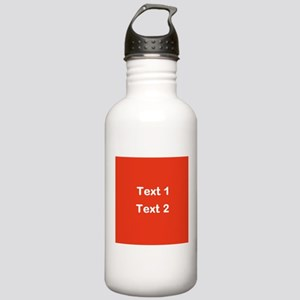 Red with Bold Custom Text. Stainless Water Bottle