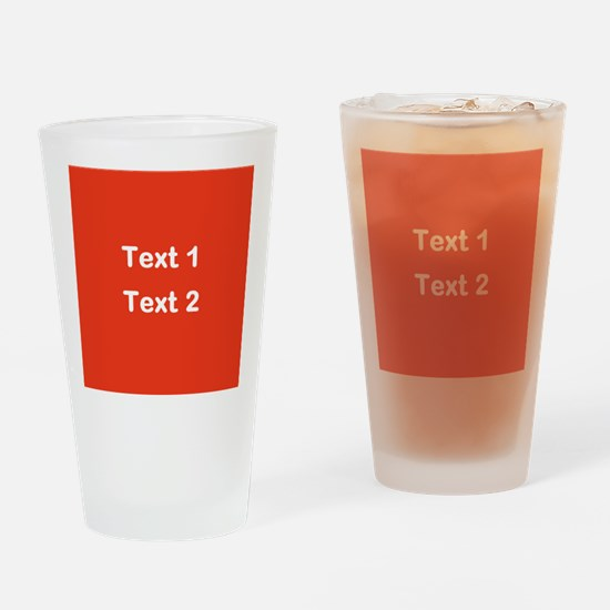 Red with Bold Custom Text. Drinking Glass