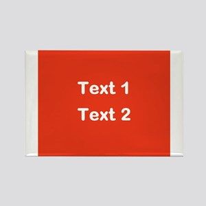 Red with Bold Custom Text. Rectangle Magnet
