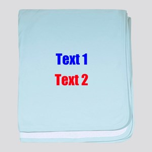 Blue and Red Custom Text. baby blanket
