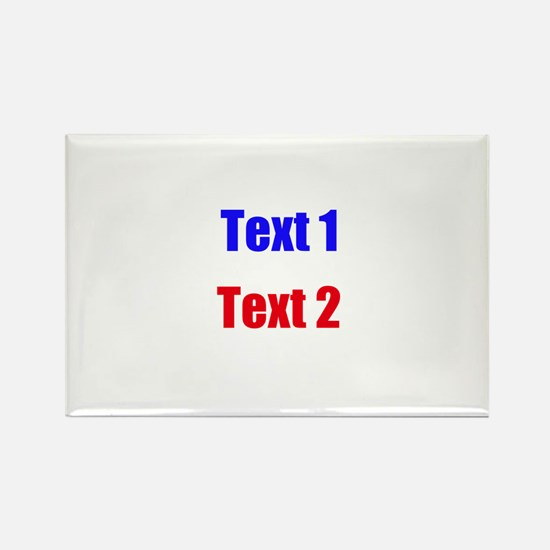 Blue and Red Custom Text. Rectangle Magnet