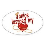 Janice Lassoed My Heart Sticker (Oval)