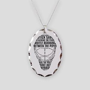 Hockey Goalie Mask Text Necklace Oval Charm