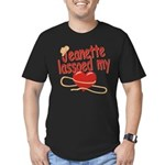 Jeanette Lassoed My Heart Men's Fitted T-Shirt (da