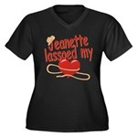 Jeanette Lassoed My Heart Women's Plus Size V-Neck
