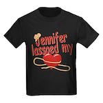Jennifer Lassoed My Heart Kids Dark T-Shirt