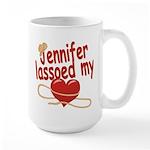 Jennifer Lassoed My Heart Large Mug