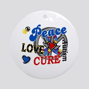 Peace Love Cure 2 Autism Shirts Gifts Ornament (Ro
