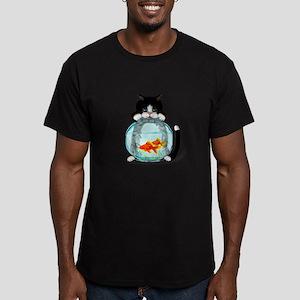 Tuxedo Cat with Fish Men's Fitted T-Shirt (dark)