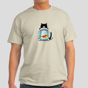 Tuxedo Cat with Fish Light T-Shirt