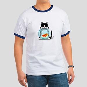Tuxedo Cat with Fish Ringer T