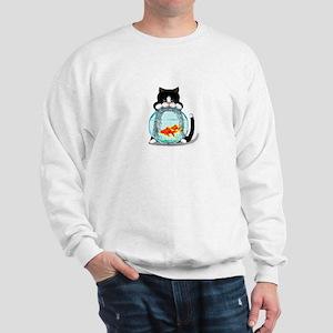Tuxedo Cat with Fish Sweatshirt