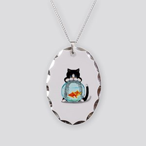 Tuxedo Cat with Fish Necklace Oval Charm