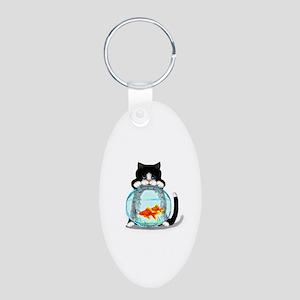 Tuxedo Cat with Fish Aluminum Oval Keychain