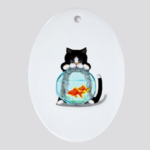 Tuxedo Cat with Fish Ornament (Oval)