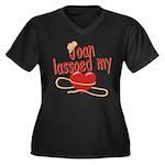 Joan Lassoed My Heart Women's Plus Size V-Neck Dar