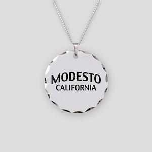 Modesto California Necklace Circle Charm