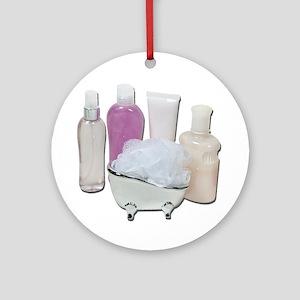 Lotion Cream Scrubber Tub Ornament (Round)