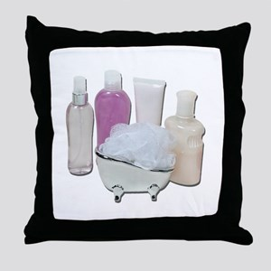 Lotion Cream Scrubber Tub Throw Pillow