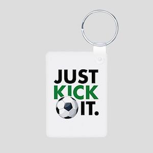 JUST KICK IT. Aluminum Photo Keychain