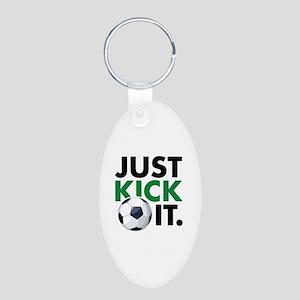 JUST KICK IT. Aluminum Oval Keychain