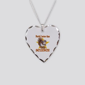 Science Squirrel Necklace Heart Charm