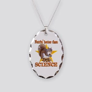 Science Squirrel Necklace Oval Charm
