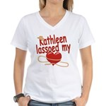 Kathleen Lassoed My Heart Women's V-Neck T-Shirt