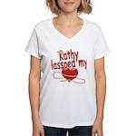 Kathy Lassoed My Heart Women's V-Neck T-Shirt