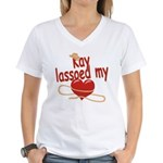 Kay Lassoed My Heart Women's V-Neck T-Shirt