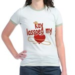 Kay Lassoed My Heart Jr. Ringer T-Shirt