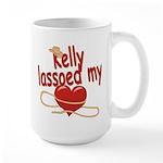 Kelly Lassoed My Heart Large Mug
